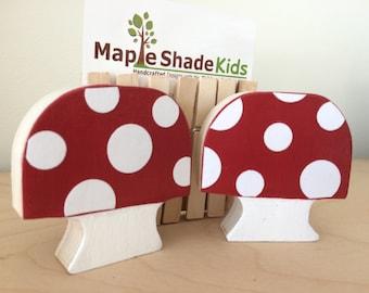 Mushroom Art Display Clips, Woodland Decor, Woodland Nursery, Forest themed decor, art organization, art cable,  eco friendly