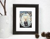 5x7 PRINT - Deer Man, Dark trees, Leaf Framing, Art Illustration, Watercolor Painting, Victorian Gentleman