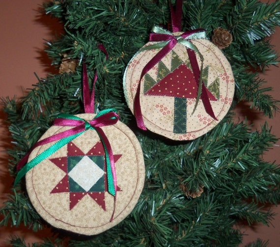 Christmas Tree Ornaments Quilted : Quilted christmas ornaments pine tree and ohio star