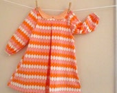 Girls Size 5 Dress, Bow Back Dress, Mod Dress, Retro Dress, Orange Size 5 Dress