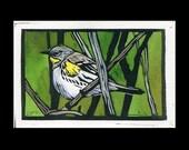 Audubon's Warbler hand painted linocut (B)