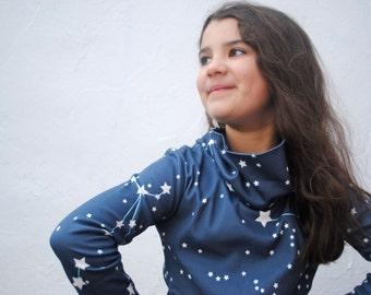Girls Dress- ORGANIC Girls Dress- Galaxy Stars Cowl Neck Dress in Midnight Blue