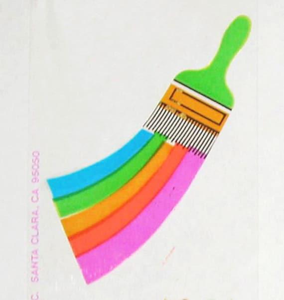 Rare Vintage Retro 80s Hambly Studios Transparent Rainbow Paint Brush Sticker Mod