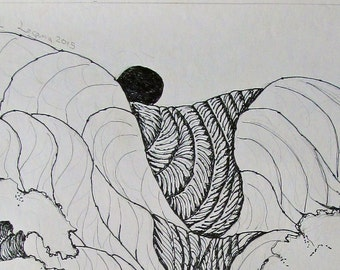 Flood,  pen and ink, drawn and signed by the artist,  Only one