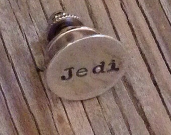 Hand stamped tie tack in sterling silver- lapel pin- handstamped with Jedi- ready to ship gift