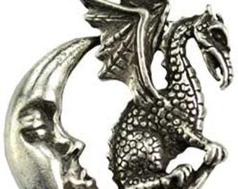 "Renaissance Dragon on the Moon ""Celestial Dragon Gaurdian"" Amulet Genuine Pewter Pendant Charm Connector"