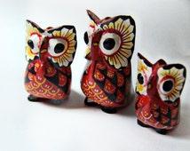 Vintage Collectible Folk Art Carved Wood Owl Family India Handicraft 1970/80 Era Set of 3 Miniature Bird Figurines