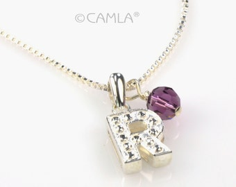 SALE R Initial & Birthstone Necklace