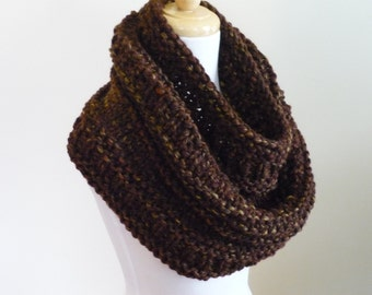 Knit Cowl, Chunky  Cowl, Infinity Scarf, Circle Scarf, Neck Warmer, Snood, Textured Cowl in Sequoia - Ready to Ship