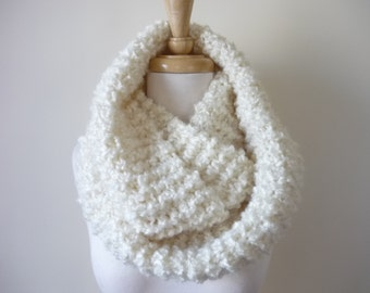 "Knit Infinity Scarf, 8"" x 70"" Long Eternity Scarf, Circle Scarf, Soft Warm Scarf in Winter White, Hand Knit Infinity Scarf - Ready to Ship"