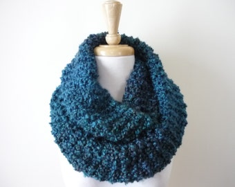 """Knit Infinity Scarf 10"""" x 54""""  Eternity Scarf, Circle Scarf, Soft Warm Scarf in Teal Blue Lagoon, Hand Knit Scarf Ready to Ship"""