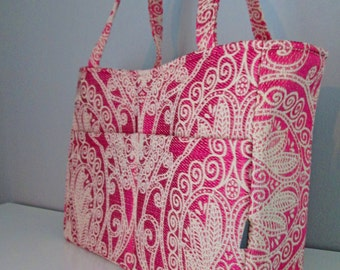 Tote Diaper Bag - Large Handmade Handbag in orchid and cream fabric print