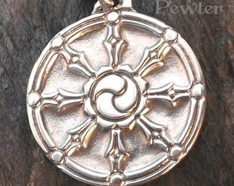 Dharma Wheel - Pewter Pendant - Buddhist Jewelry, Path of Right Action, Living in Balance with Compassion and Bringing Good in all you do.