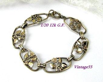 Bracelet Floral Berry Leaf Gold filled Retro