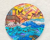 Oceanfront beach house with dolphins, turtles and pelicans Ornament and Suncatcher