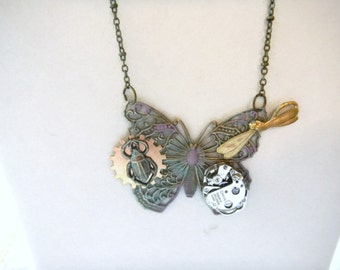 Steampunk Butterfly Necklace, Butterfly Necklace, Alternative Jewelry