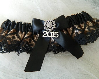 Garter- Prom Garter- Black And Champagne Costum Colors Garter-Prom Garter Belt-2017 Prom Garter, Black Lace Garter, Prom Garter Belt