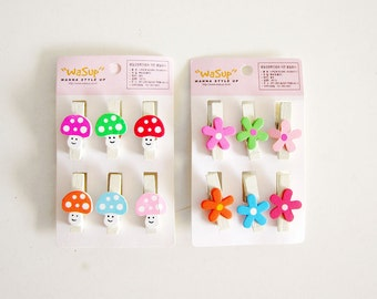 Destash Sale - 12 Embellished Peg Pins - Mushroom and Flowers