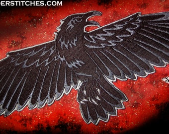 Night's Watch Flying  Raven Crow Black Bird Iron on Patch or Sew on