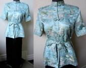 40's  Exquisite Chinese SILK Brocade & Charmeuse Asian Lounge Mandarin Pajama Set