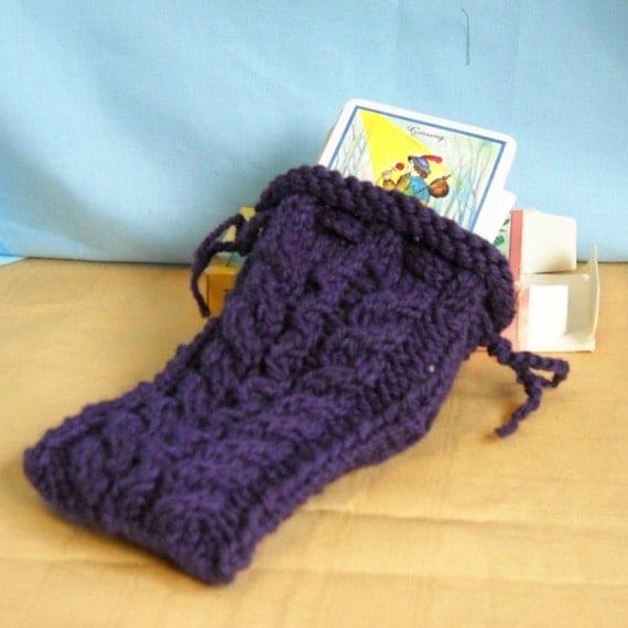 Knit Pattern Tarot Bag : Purple Knit Tarot Rune Treasure Bag by threadsofmagique on ...