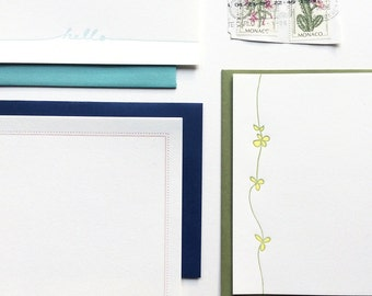 Spring Stationery Writing Paper Set of 12 Sheets Letterpress Printed