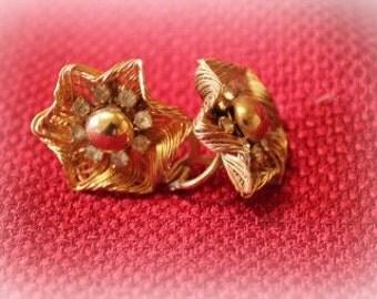Vintage EARINGS  gold tone with rhinestones