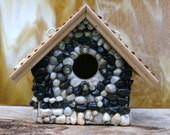 Mosaic Stone Birdhouse  White Stones & Obsidian Functional Outdoor Art Wood Roof Bullet Shell Birdhouse