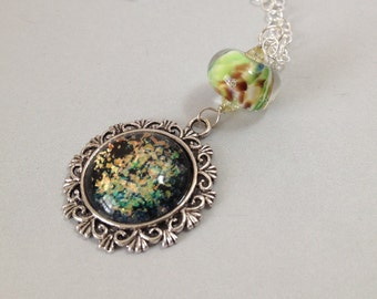 Nail Polish Necklace with Handmade Lampwork Glass on Sterling Silver Chain (N-216)