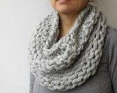 Chunky Thick Cowl Scarf Taupe Grey Reversible Hand Knit  Women's Scarves