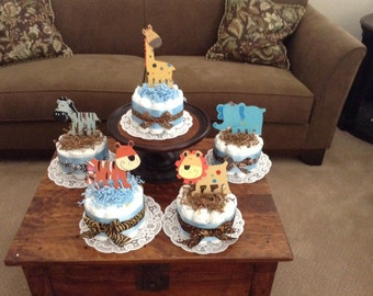 Giraffe safari Jungle Diaper Cake Baby SHower Centerpieces bundt cakes other topers and styles too