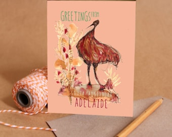 Greetings from Adelaide - Gift card with recycled envelope and cute Australian emu illustration