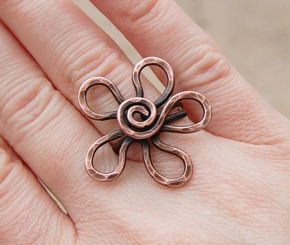 Large Flower Ring, Oxidized Copper, Wire Jewelry