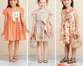GIRLS CLOTHES PATTERN / Make Dress With Animal Appliques or Bow - Matching Purse - Hair Bows / Child Sizes 3 To 8