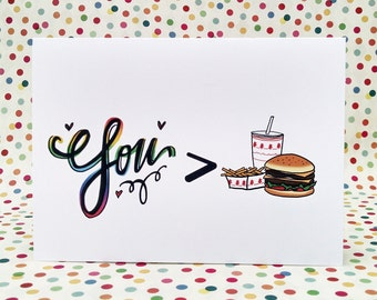 I love you more than Burgers card, the perfect card to show your love