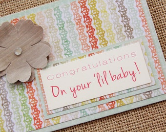 Handmade Baby Shower Card, Congratulations Card, Baby Shower Gift Card, It's A Girl