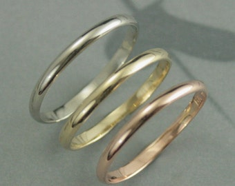 Tricolor Solid Gold Stacking Set--10K Gold Tricolor Bands--One Each in Rose Gold, Yellow Gold and White Gold--Set of 3 Hand Made Bands