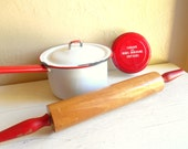 Vintage Red Kitchen Baking Set - White Red Enamel Pot with Lid Rolling Pin Sandwich Cutters Set