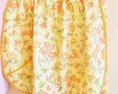 Vintage Half Apron with Pocket New Old Stock Never Worn Orange Yellow Floral