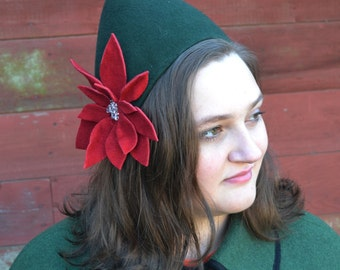 Christmas Pixie Hat in hand blocked wool felt with poinsettia Holiday Elf Hat