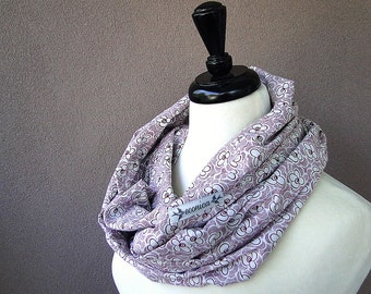 organic cotton infinity scarf screen printed in burgundy pattern on cream