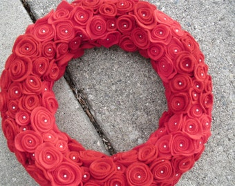 Red Felt Flower Wreath