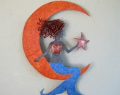 Bright cobalt blue metal wall art Mermaid On Moon vivid terracotta orange wall sculpture recycled metal shiny copper star