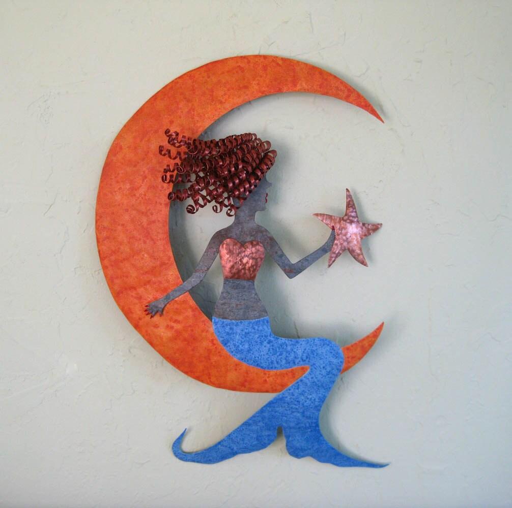 Metal Wall Art Mermaid Sculpture Recycled By