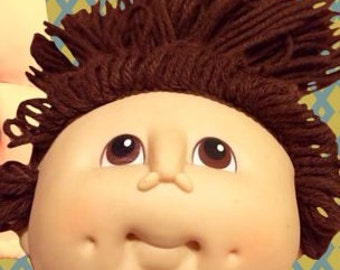 Vintage Cabbage Patch Kid Doll Head...Brown Hair/Brown Eyes