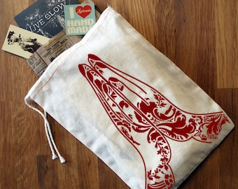 "GIFT BAG / 8x11"" NAMASTE - Hand Printed Drawstring Reusable Cotton Bag"
