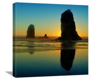 "Beach Photo, Nature Photography ""Cannon Beach Monoliths"" Ocean Photo, Oregon Photo, Beach Art, Beach Picture, Ocean Art, Canvas Gallery Wrap"