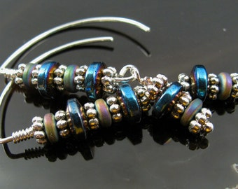 Sterling silver wire with iridescent blue beads