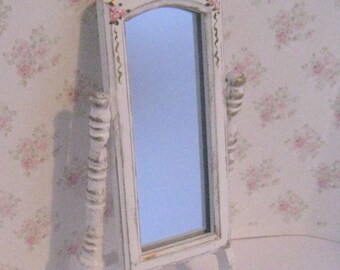 Dollhouse Cheval mirror, tatty chic,  white, rose trims, Twelfth scale dollhouse miniature