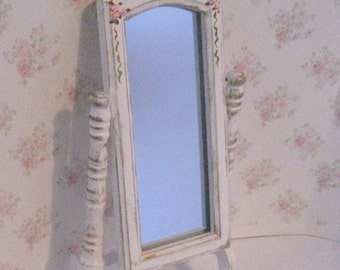 Dollhouse Cheval mirror, tatty chic,  white, rose trims,miniature mirror, cheval mirror,  Twelfth scale dollhouse miniature